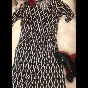 MSK Chic Black&white patterned faux wrap dress🌹